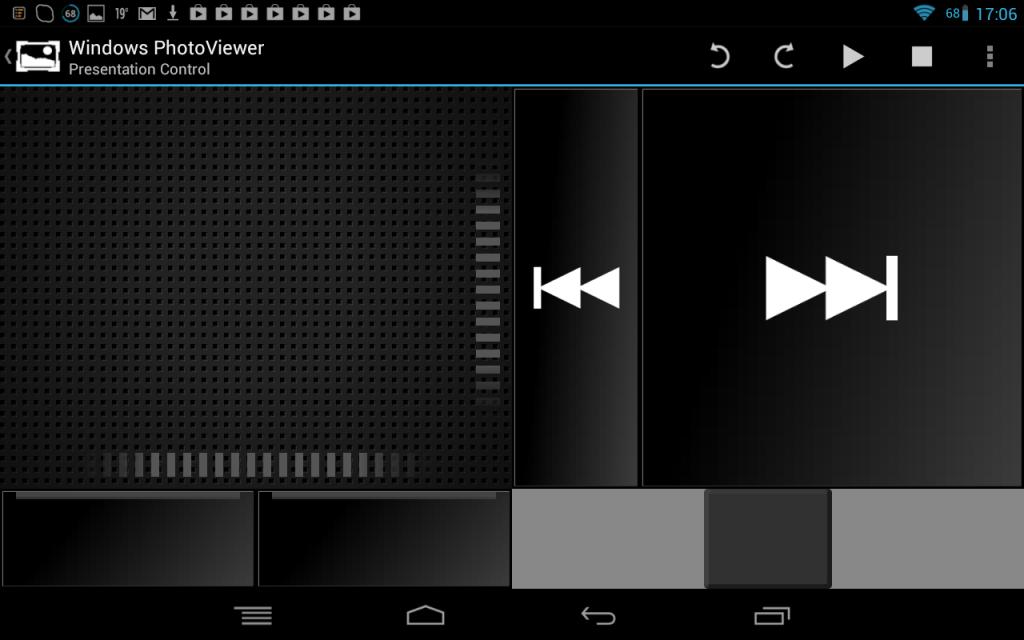 Téměř podobné rozhraní jako u presenteru, jen s tím rozdílem, že v horní liště má funkce právě specifické pro procházení obrázků jako otáčení nebo mazání.